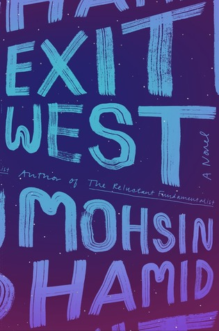 [image description: the book cover of Exit West. The background looks like the night sky––navy blue with small white dots. The foreground has the title and author's name in light blue and purple writing, the font of which looks like brush strokes.]