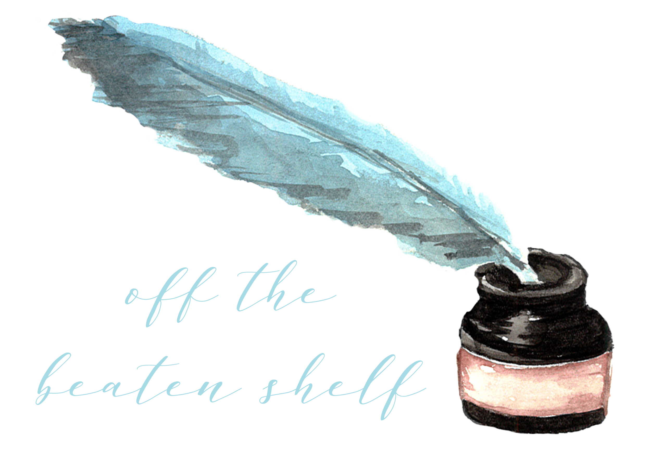 "[image description: white background, the words ""off the beaten shelf"" in light blue calligraphy, and a watercolor picture of a dark brown inkwell with a lighter brown band around the bottle with a blue feather quill dipped in the inkwell]"