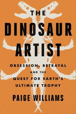 [image description: The cover of The Dinosaur Artist. It's the mirror image of a drawn T-Rex skeleton on an orange background.]