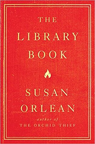 [image description: The cover of The Library Book. The background is red and it's bordered in a pale yellow box. The design resembles a vintage book.]