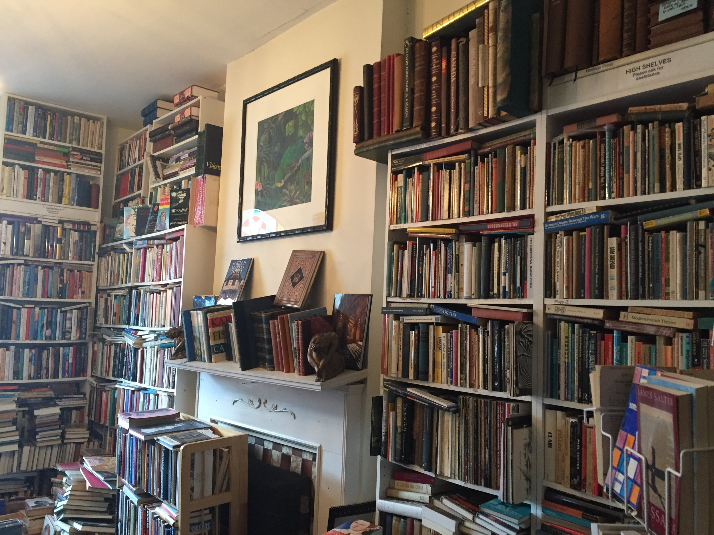 [image description: A view of the wall with the mantle. There's floor to ceiling bookshelves in nearly every part of the photo.]