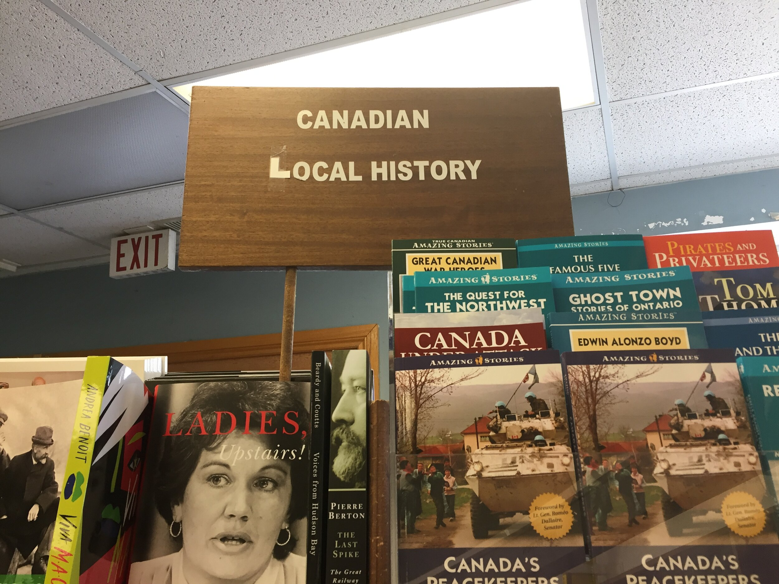 [image description: The Canadian Local History section at Novel Idea.]