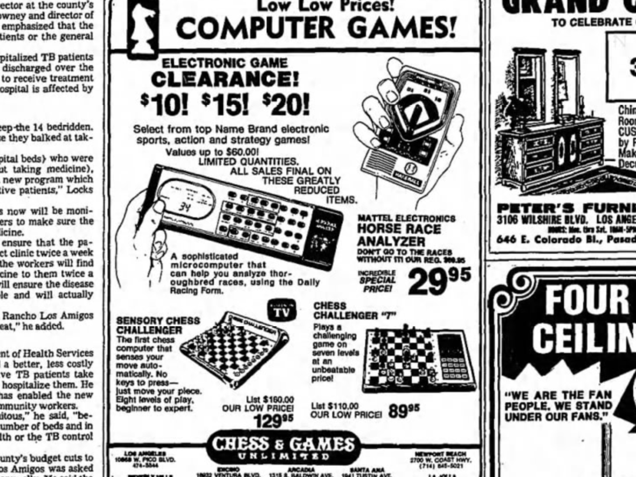 1981 advertisement from the LA Times