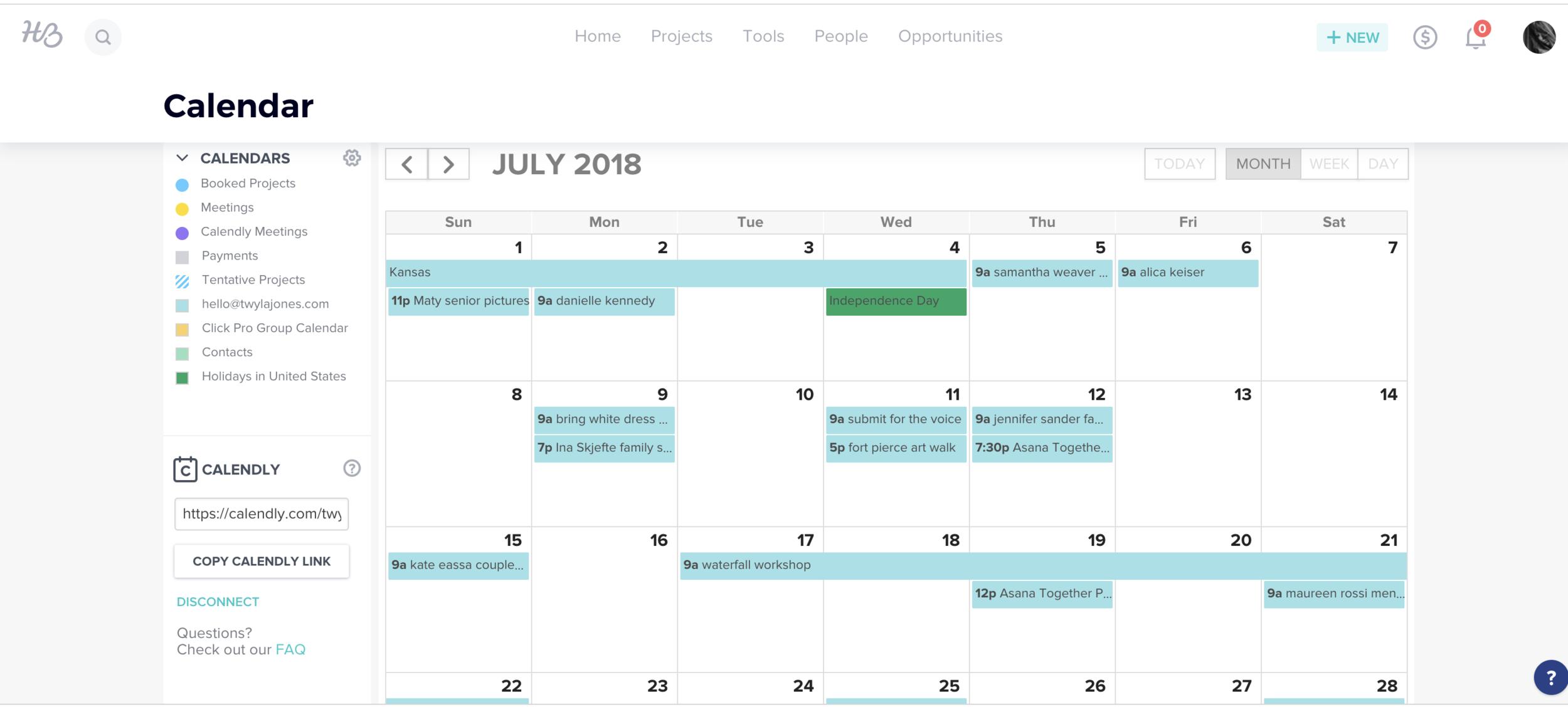 honeybook calendar