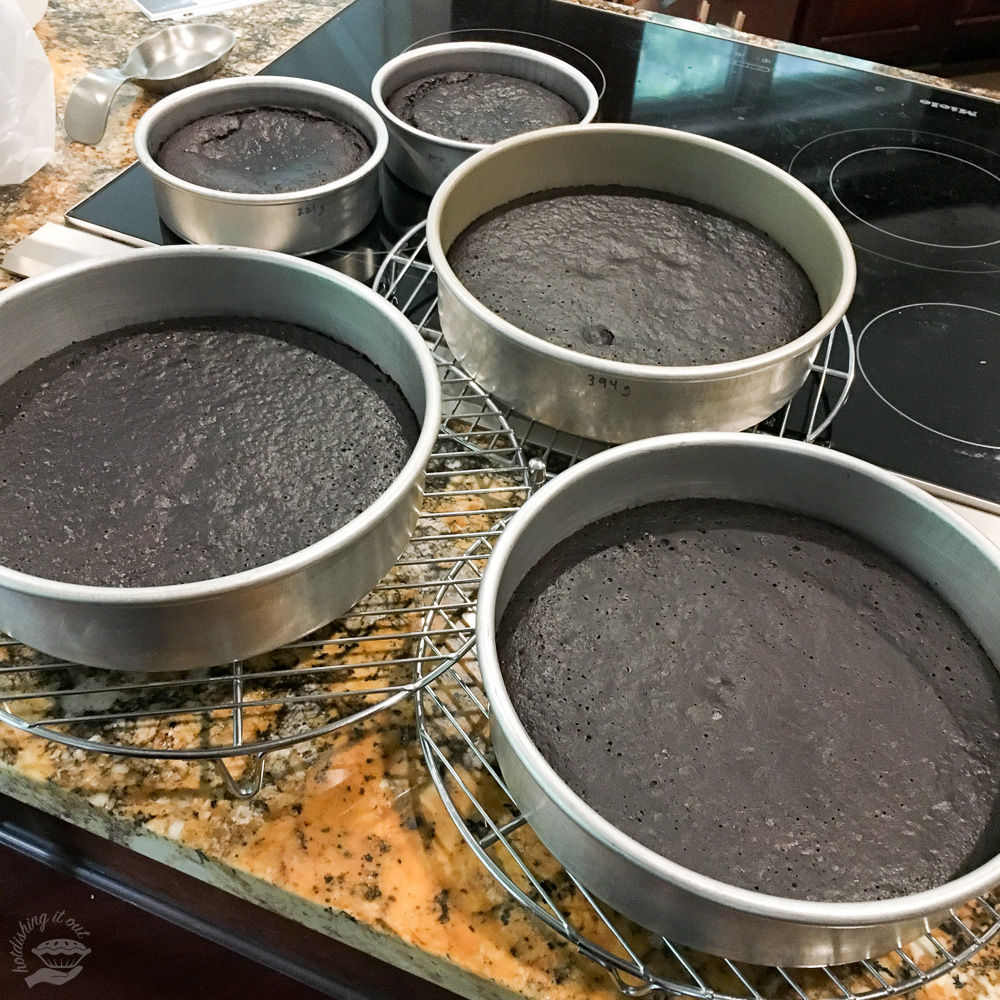 Cakes out of the oven.