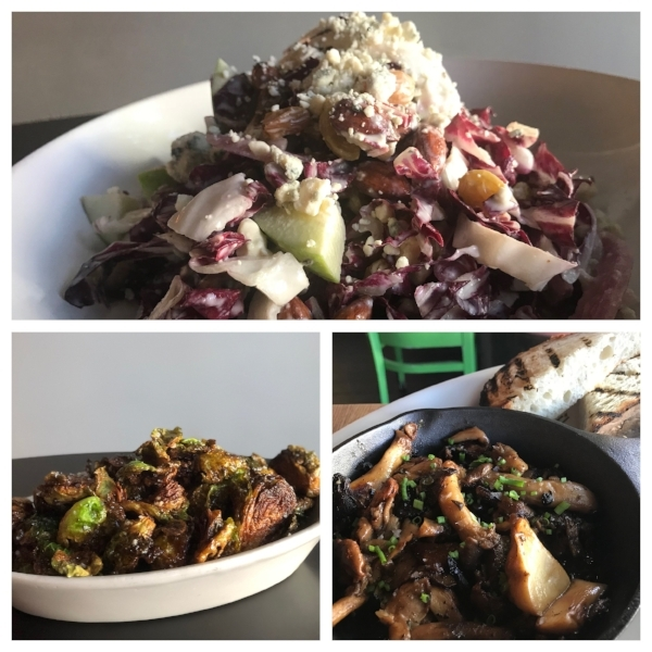 Clockwise from top is the Rad Salad, Cast Iron Mushrooms with Grilled Bread, and Fried Brussel Sprouts tossed in a cider, anchovy, & garlic dressing.