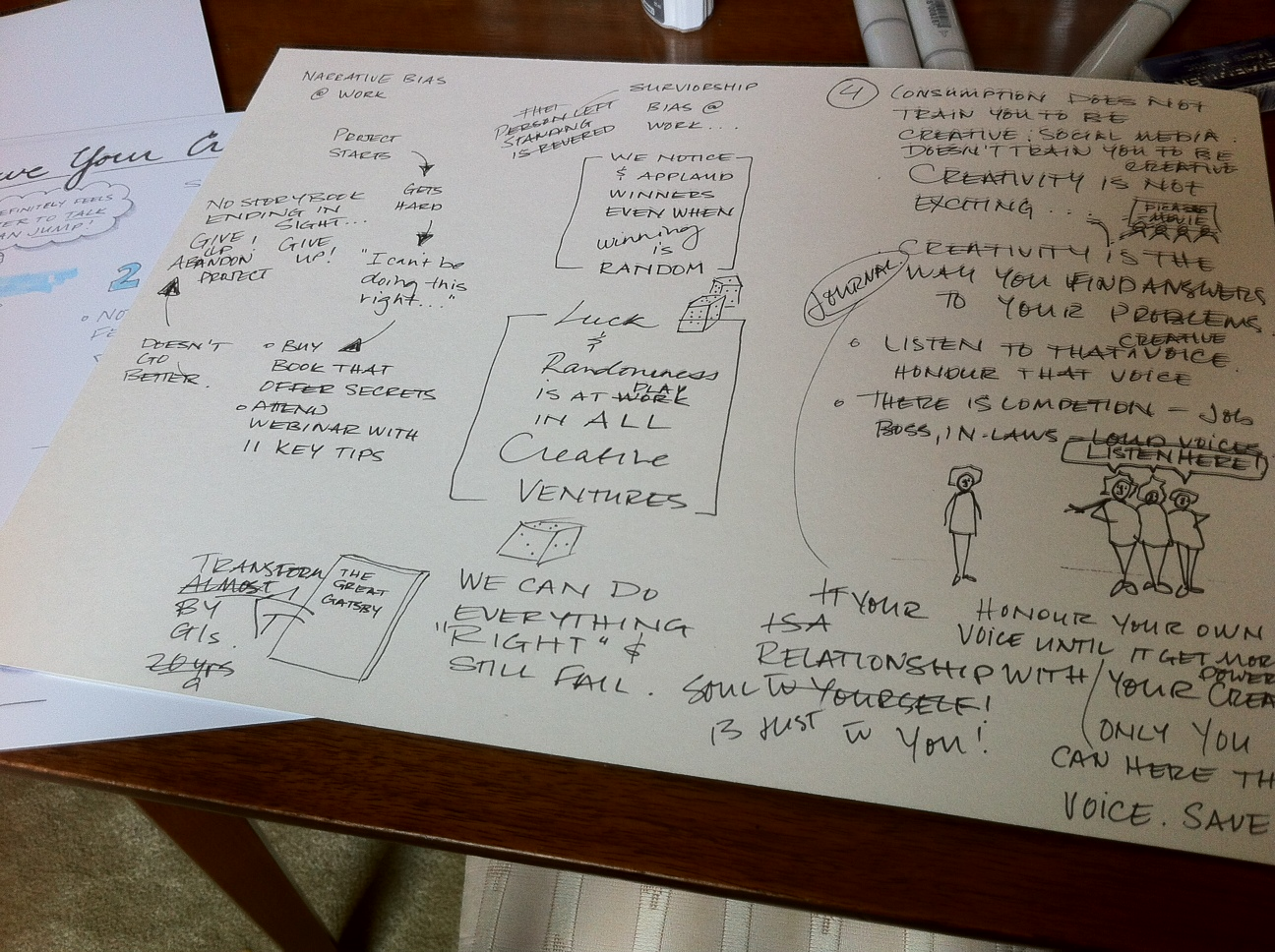 This is the first draft of the sketchnote's second page. You can see the challenges I was having with spacing and layout. Scott gave a content-rich talk and I really wanted to capture all of the key points.