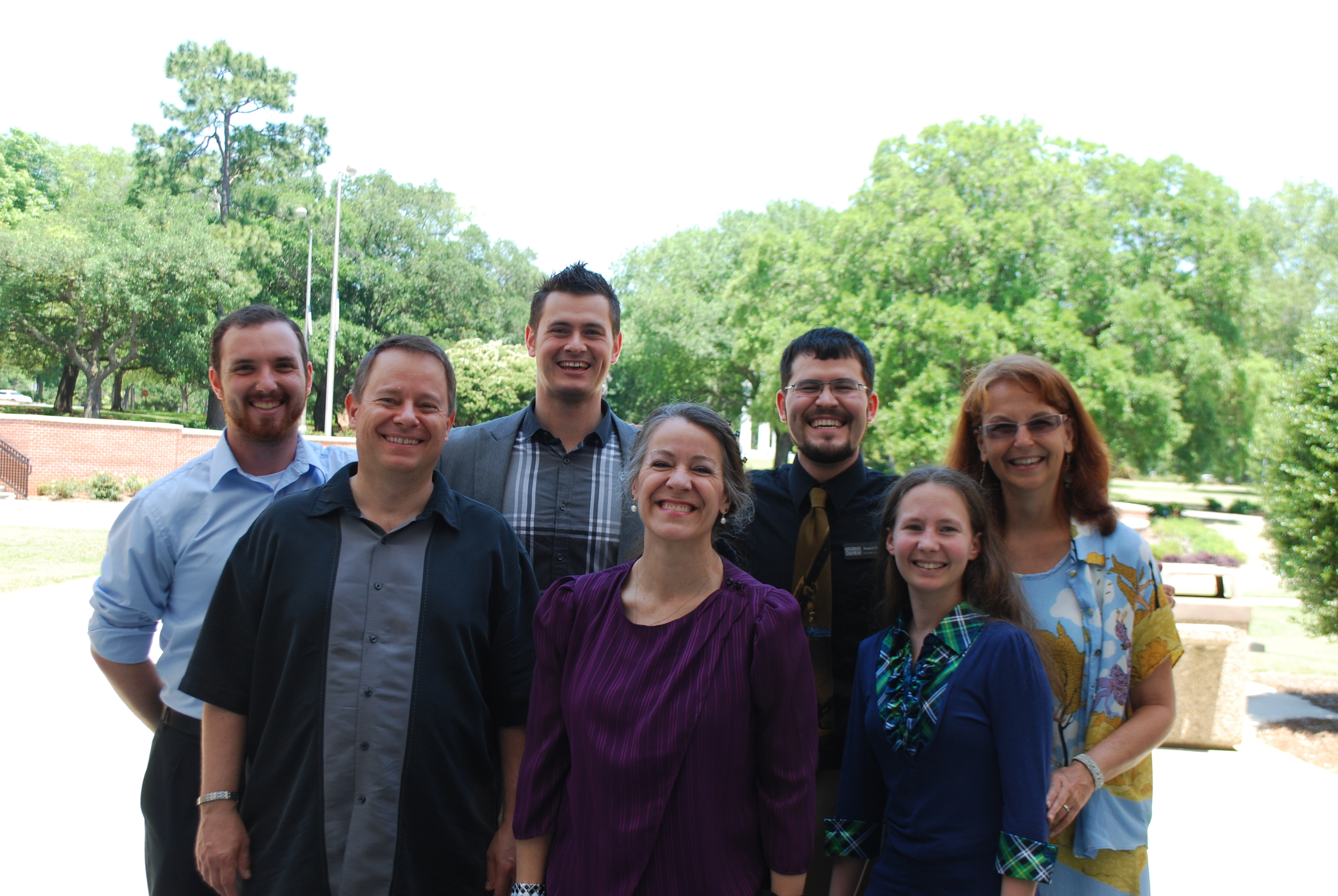 From left to right: Mr. Tad, Mr. David, Mr. Josh, Mrs. Natalie, Mr. Daniel, Mrs. Laura, and Mrs. Angela. (Mrs. Laryssa and Mr. Mark are not pictured)