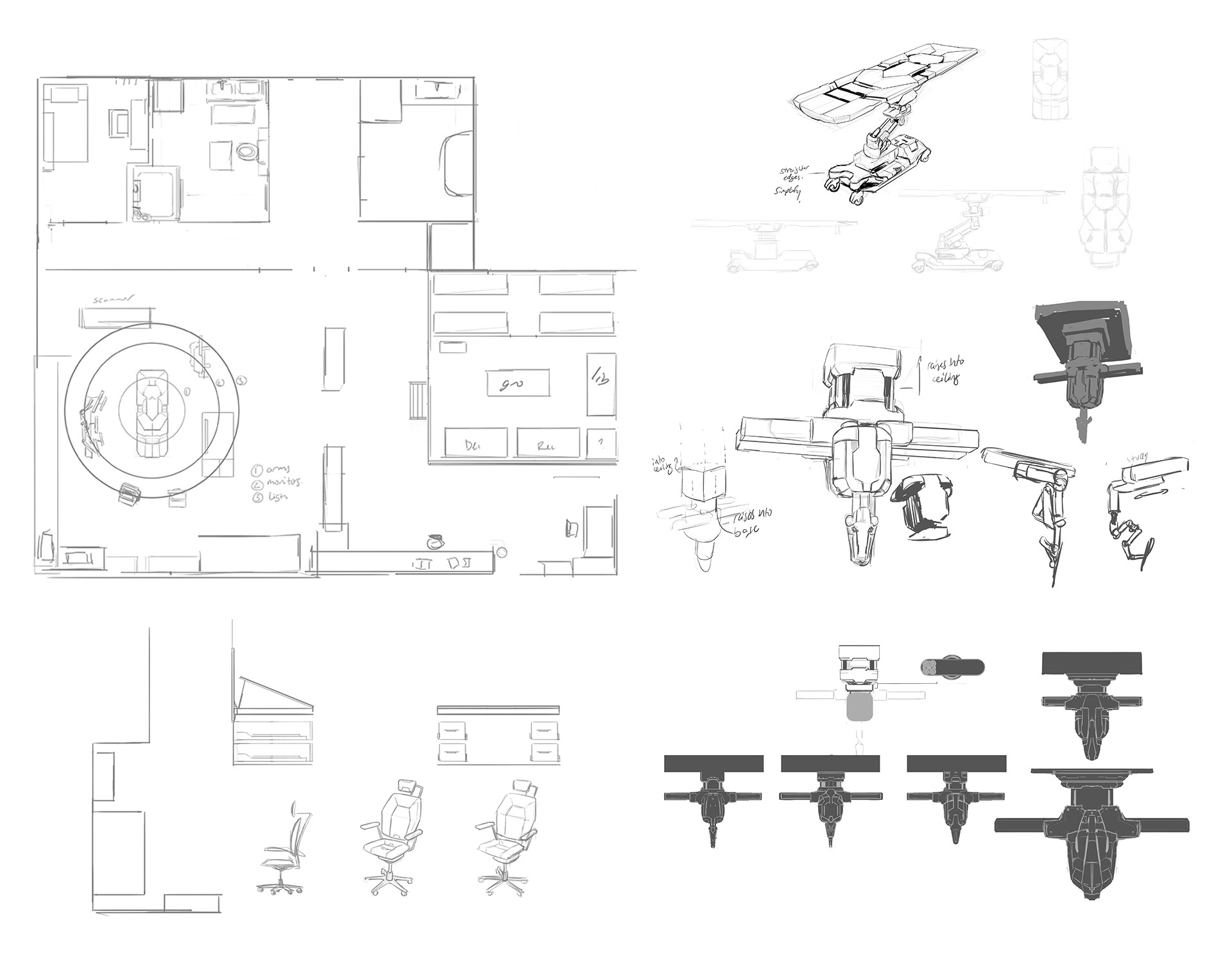 Lab layout and prop sketches