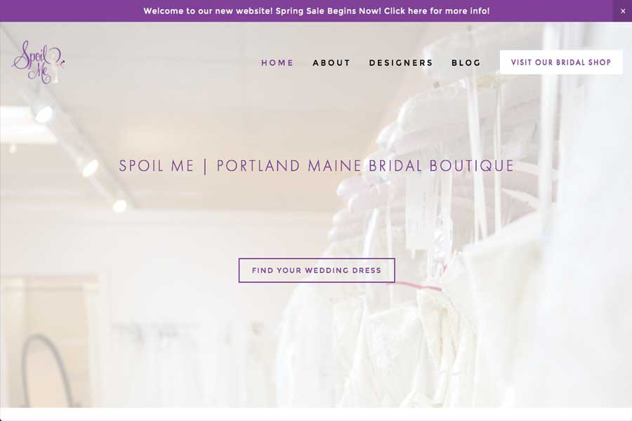 Spoil Me Bridal Boutique | Portland Maine Web Design