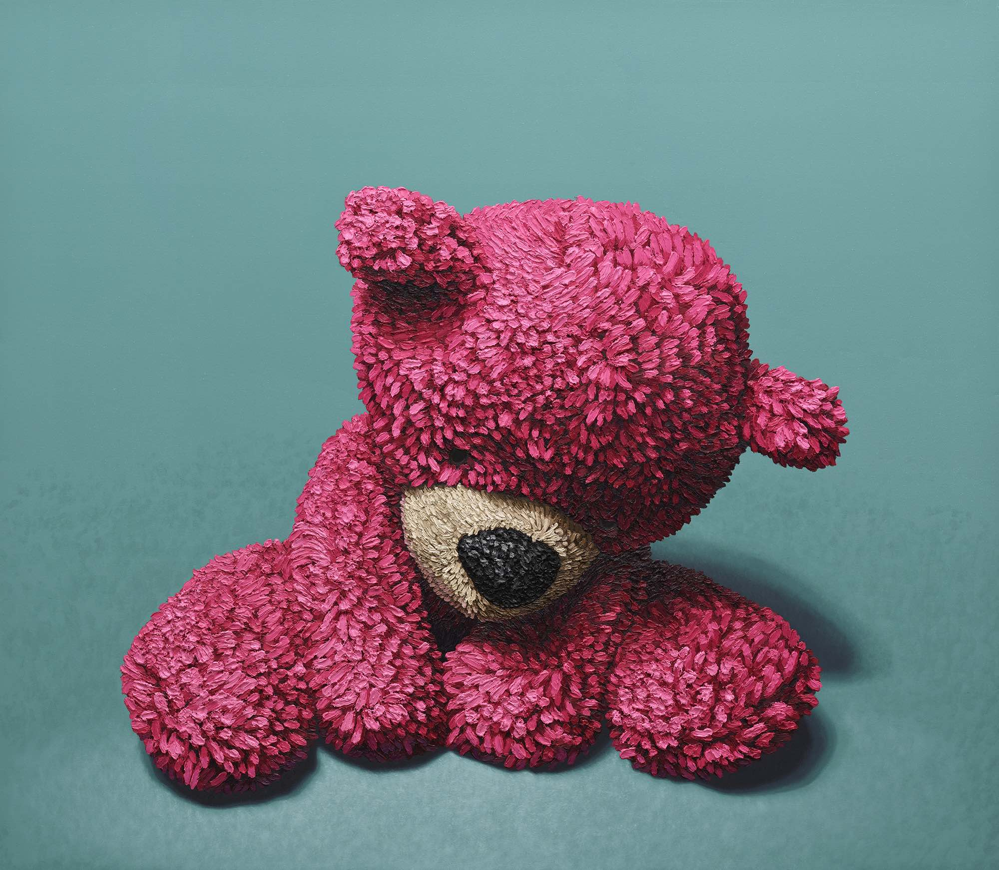 """""""Pink Bear Sitting"""" oil on canvas, 72""""x84"""" 2017 (sold)"""