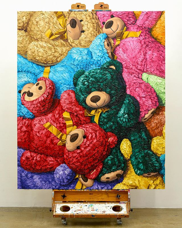 """🐻🐻🐻 """"All Together"""" oil on panel, 120""""x72"""" (305cm x 183cm) Which one is Your Favorite Color!!!???🎨🎨🎨 Finally made it to its new home... it is in a Very Very good place 😜 All enquires please email ✉️ info@jameswrightgallery.com ✉️ www.brentestabrook.com 