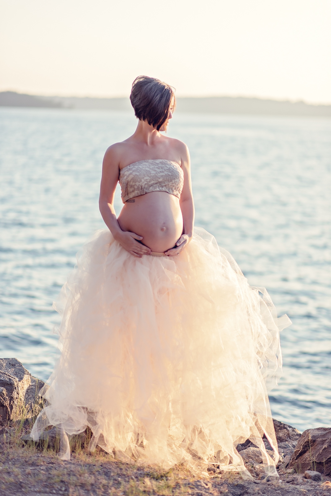Maternity tulle skirt with top