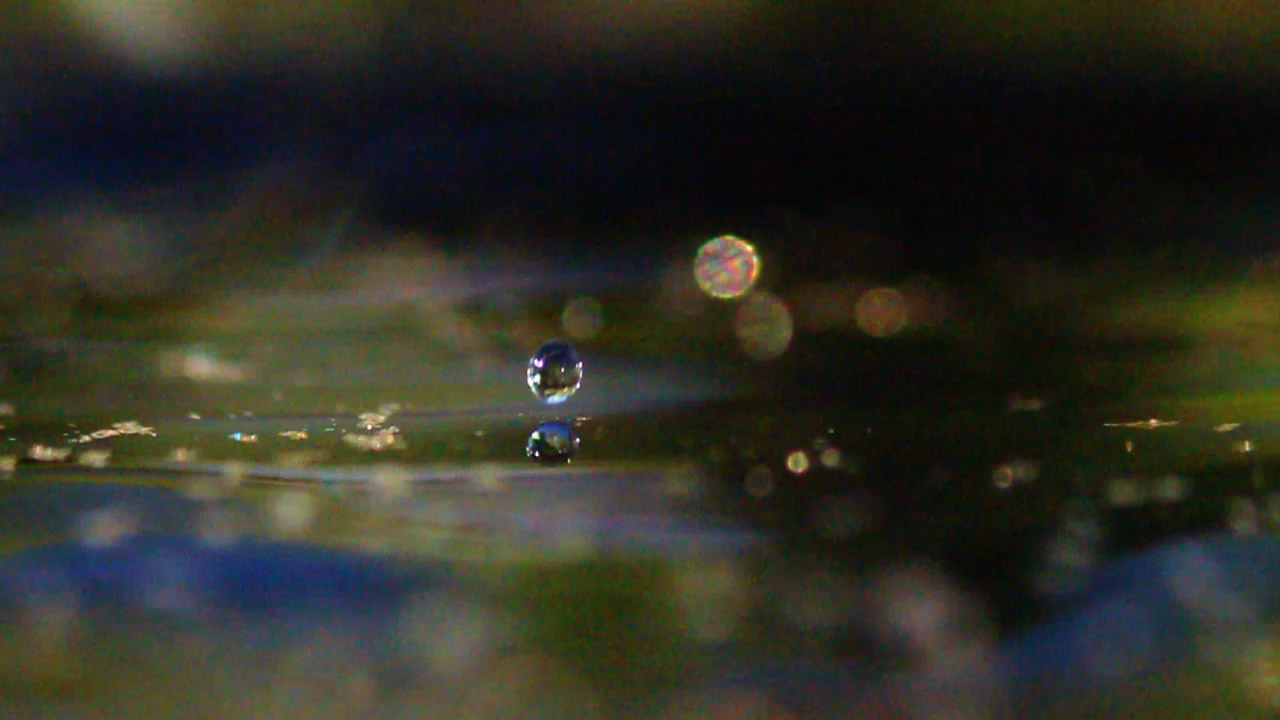 Video using macrotubes : water droplets with gold dust