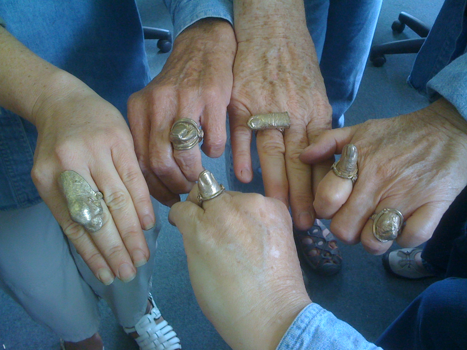 Wear Your Story: Narrative Jewelry Class - Cast Bronze Nose Ring, Thumb Ring, Pinky Rings & Toe Ring - Mendocino Art Center