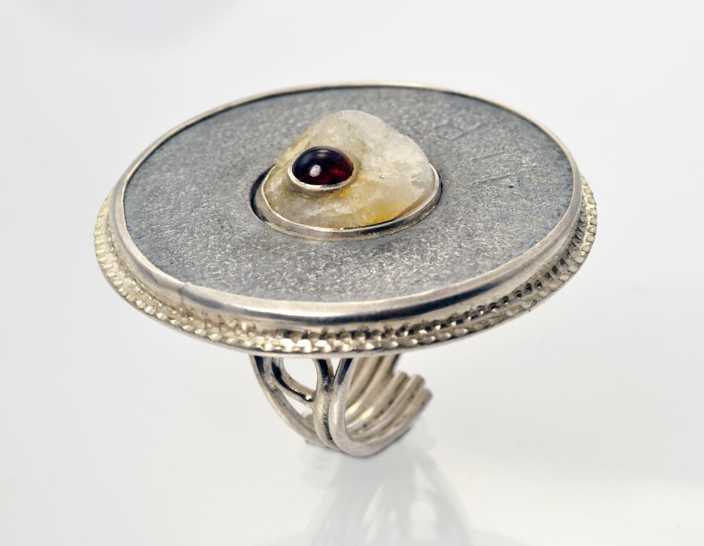 Ring #1 - steel washer, rock, garnet, sterling silver