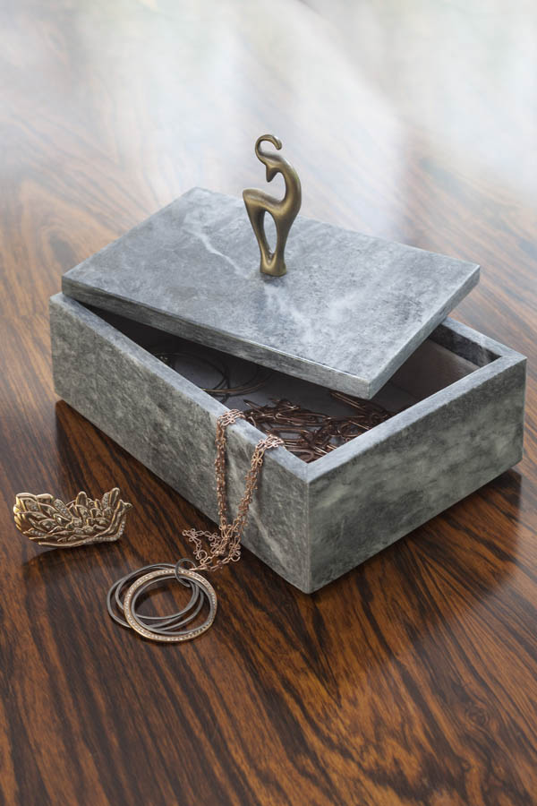 Althaea home collection brass and marble jewellery box