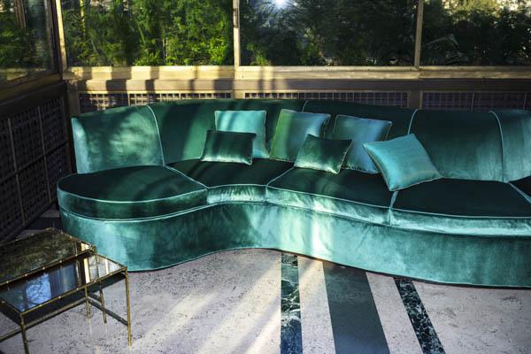Green velvet sofa in Dedar Splendido   Design Hunter