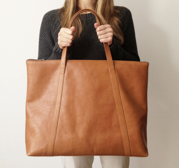 Tan leather carryall weekend tote