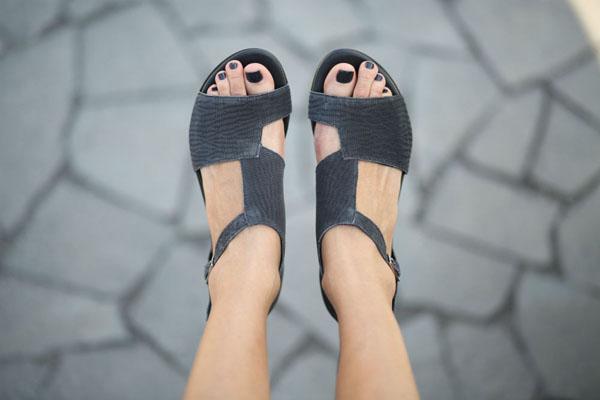 Handmade black woven leather sandals