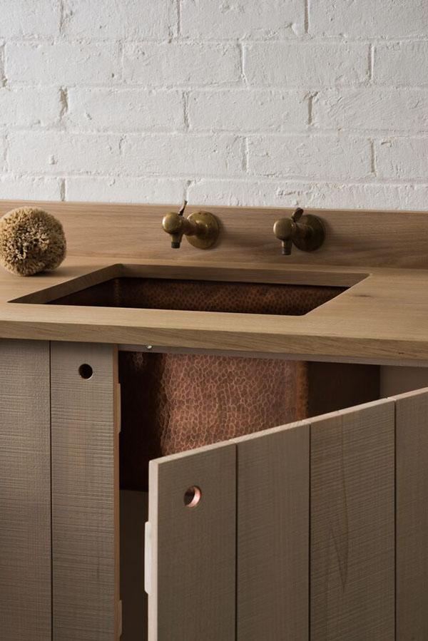 Copper sink - modern rustic kitchen by Sebastian Cox for deVOL