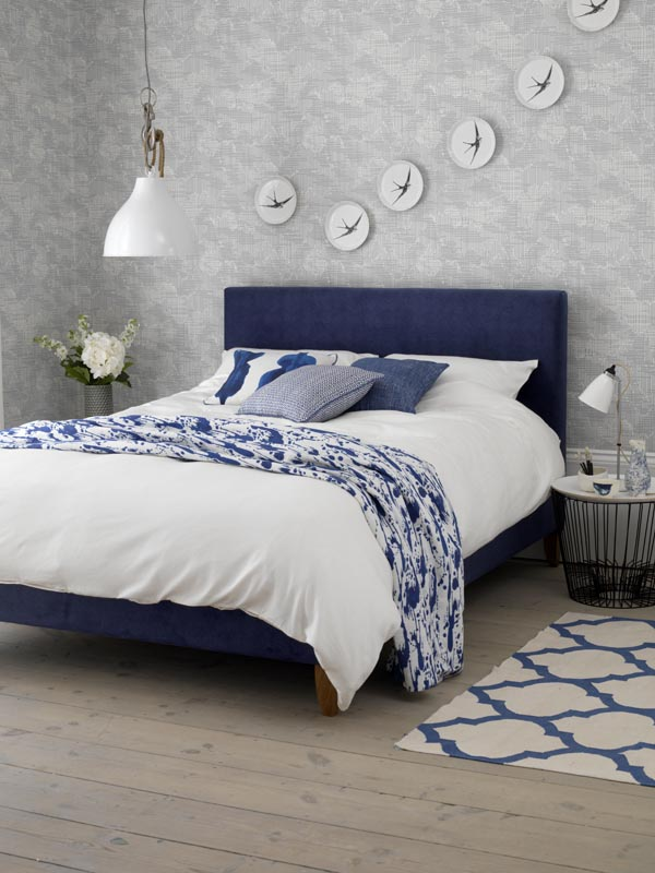 Blue upholstered bed - Button and Sprung