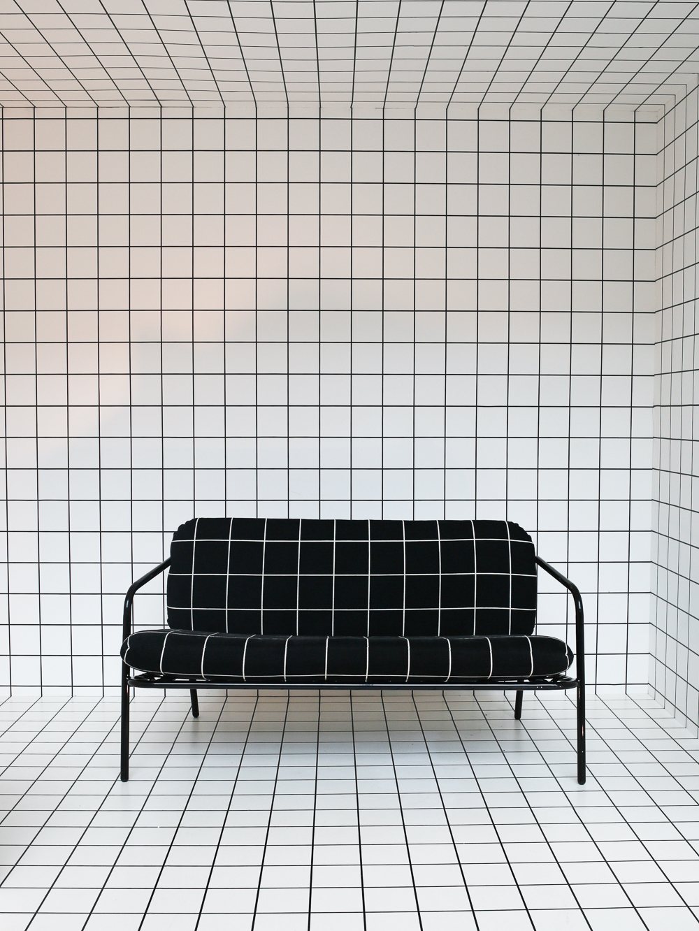 Deadgood sofa upholstered in 'Window' by Kirkby Design