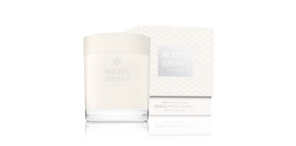 Molton Brown coco and sandalwood scented candle