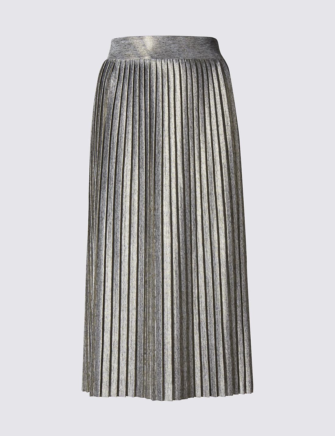 Metallic pleated skirt | M&S