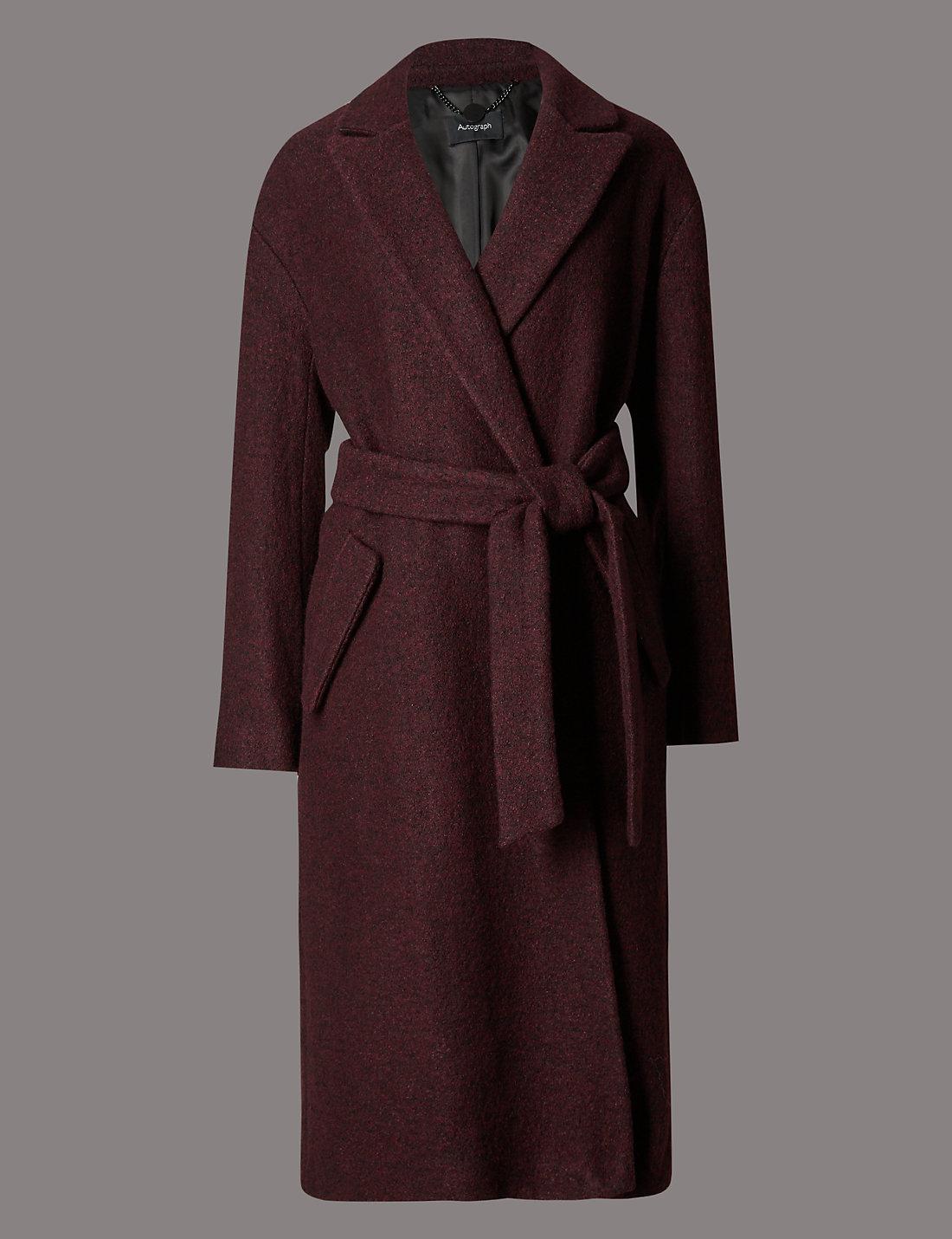 Burgundy wrap coat | M&S