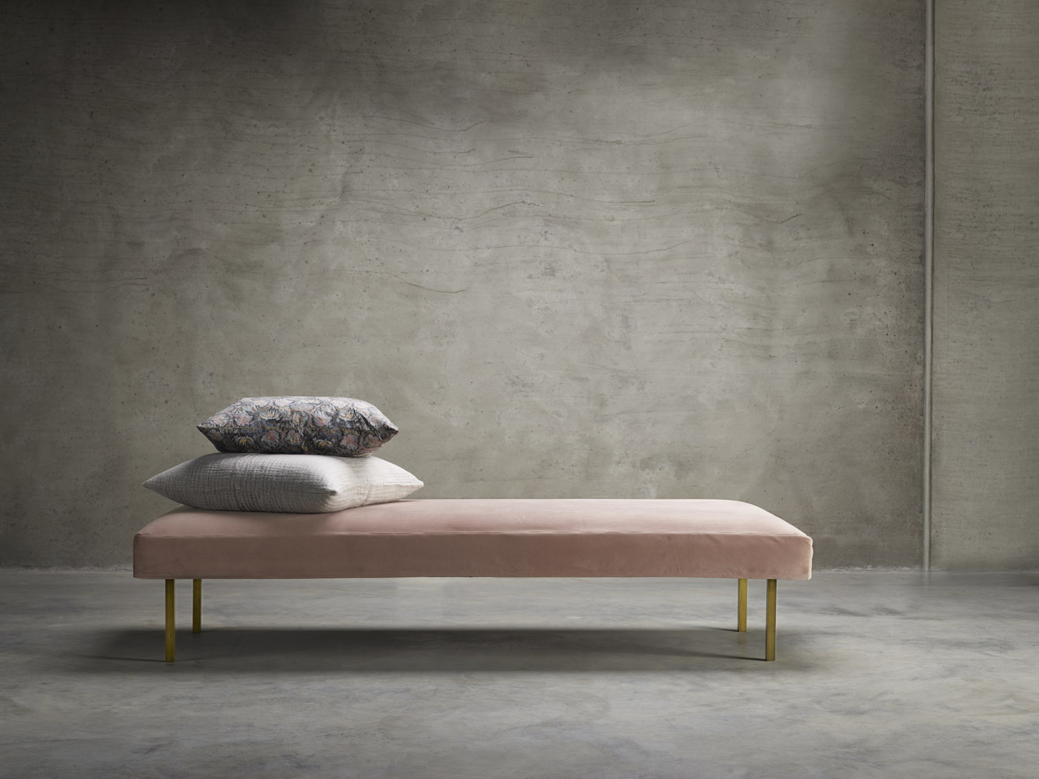 Velvet and brass daybed by Tine K