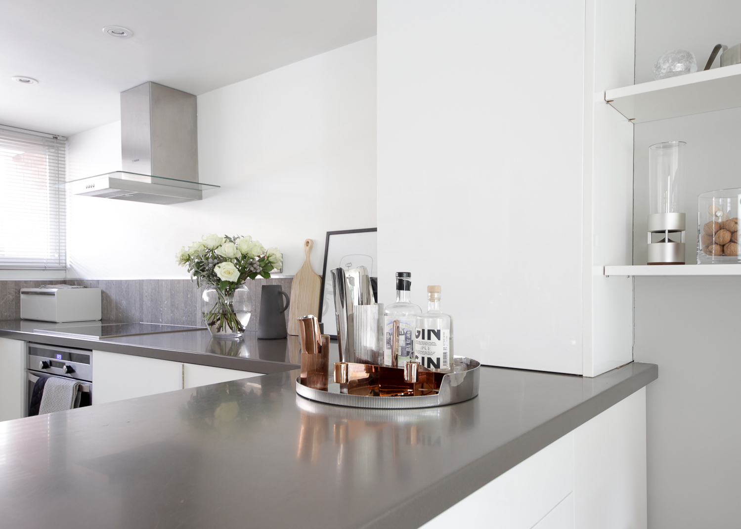 Modern minimalist white kitchen