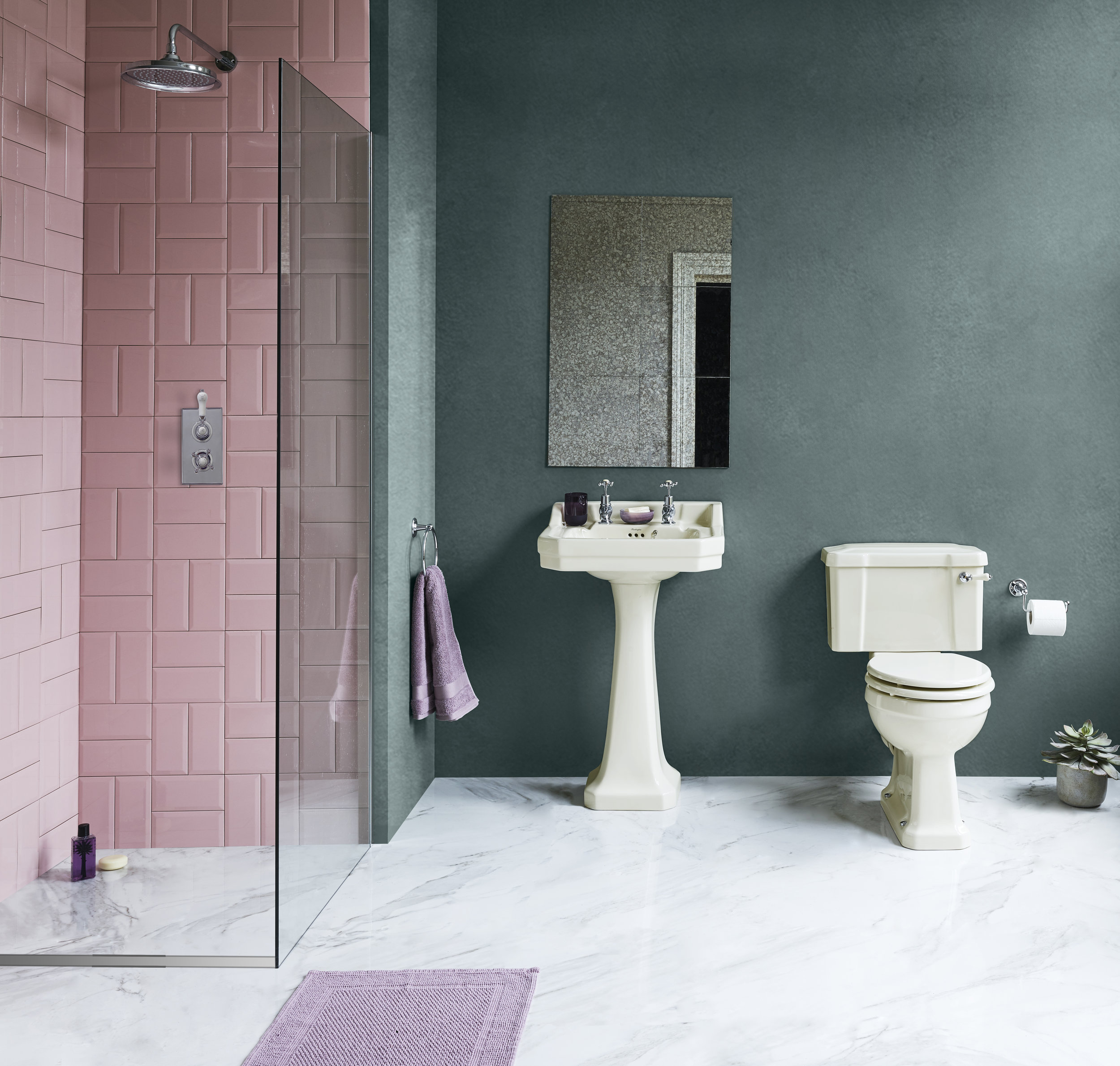 A playful colour palette for a contemporary bathroom with a hint of retro.