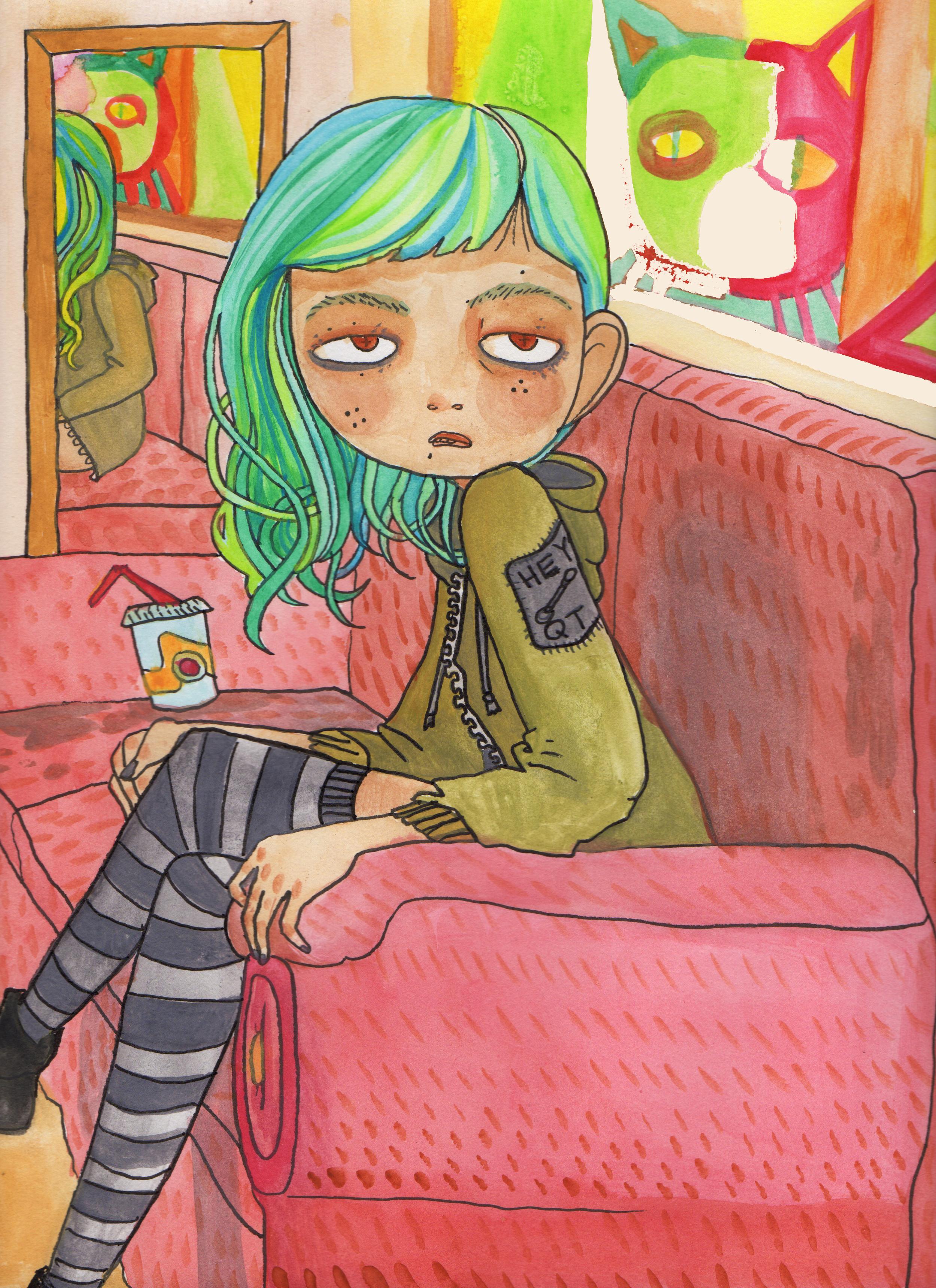 Current Mood. Watercolor. 2016  Featured on Rowan Blanchard's ( Girl Meets World )Instagram