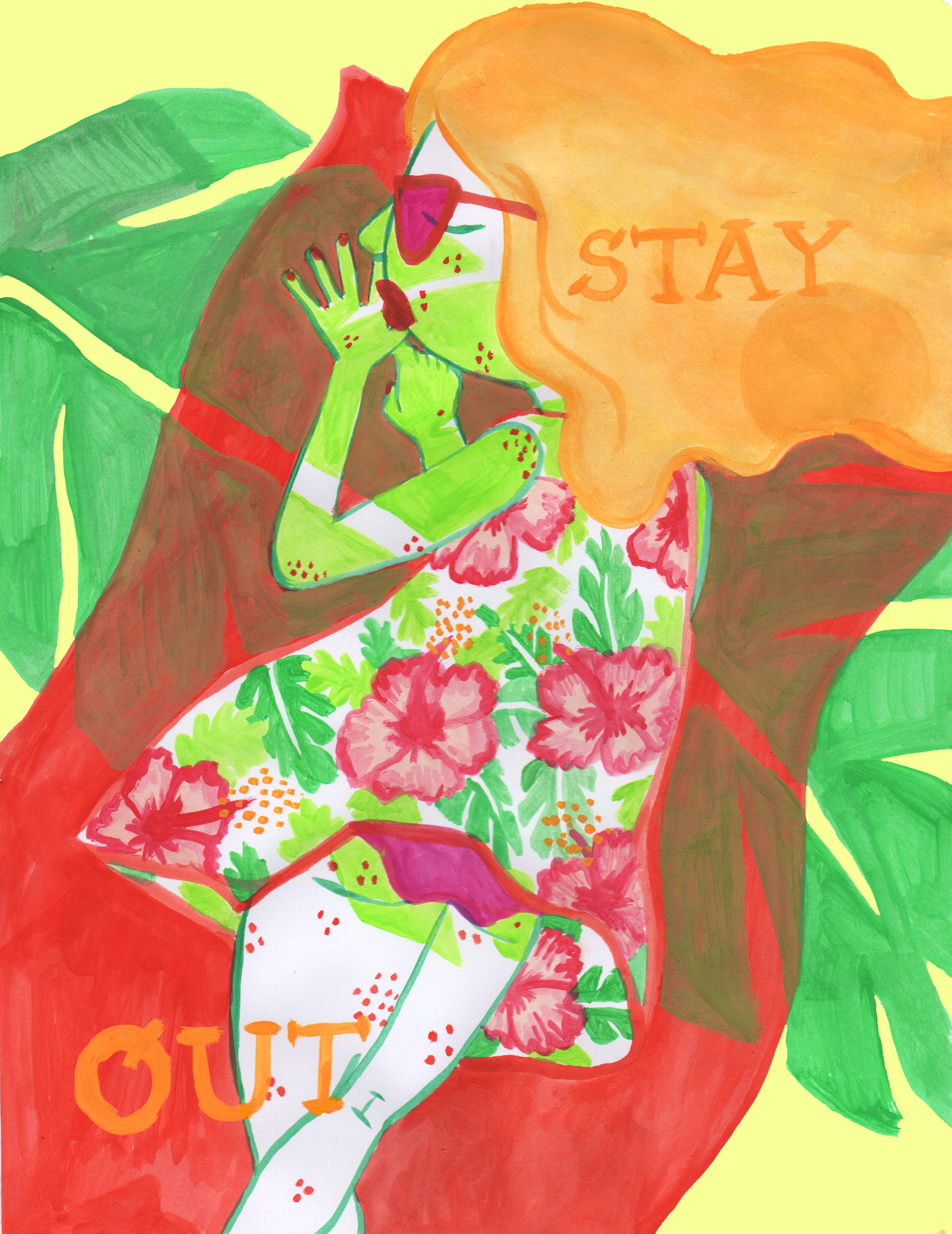 STAY OUT. Watercolor. 2016