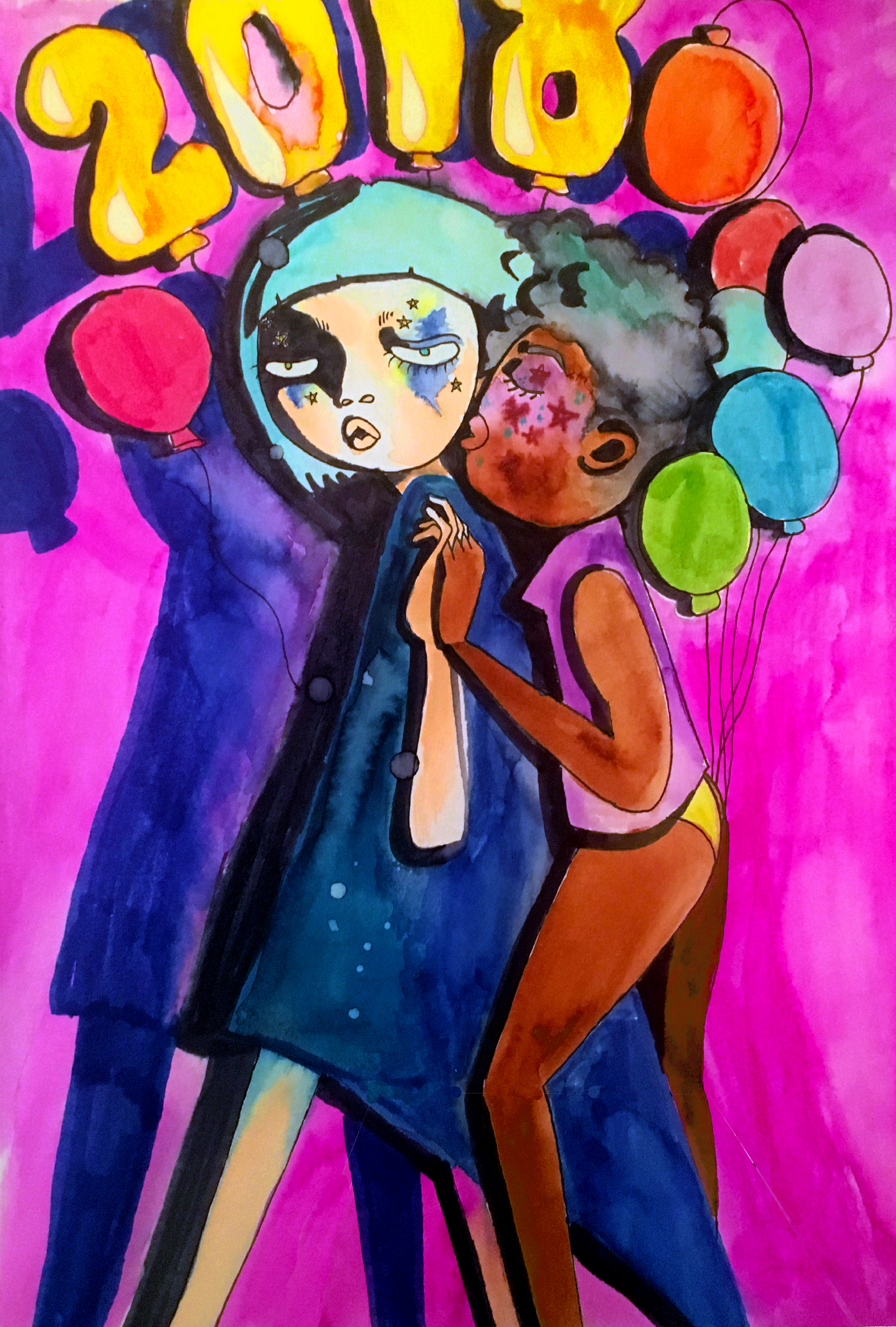 New Year . Watercolor. 2018