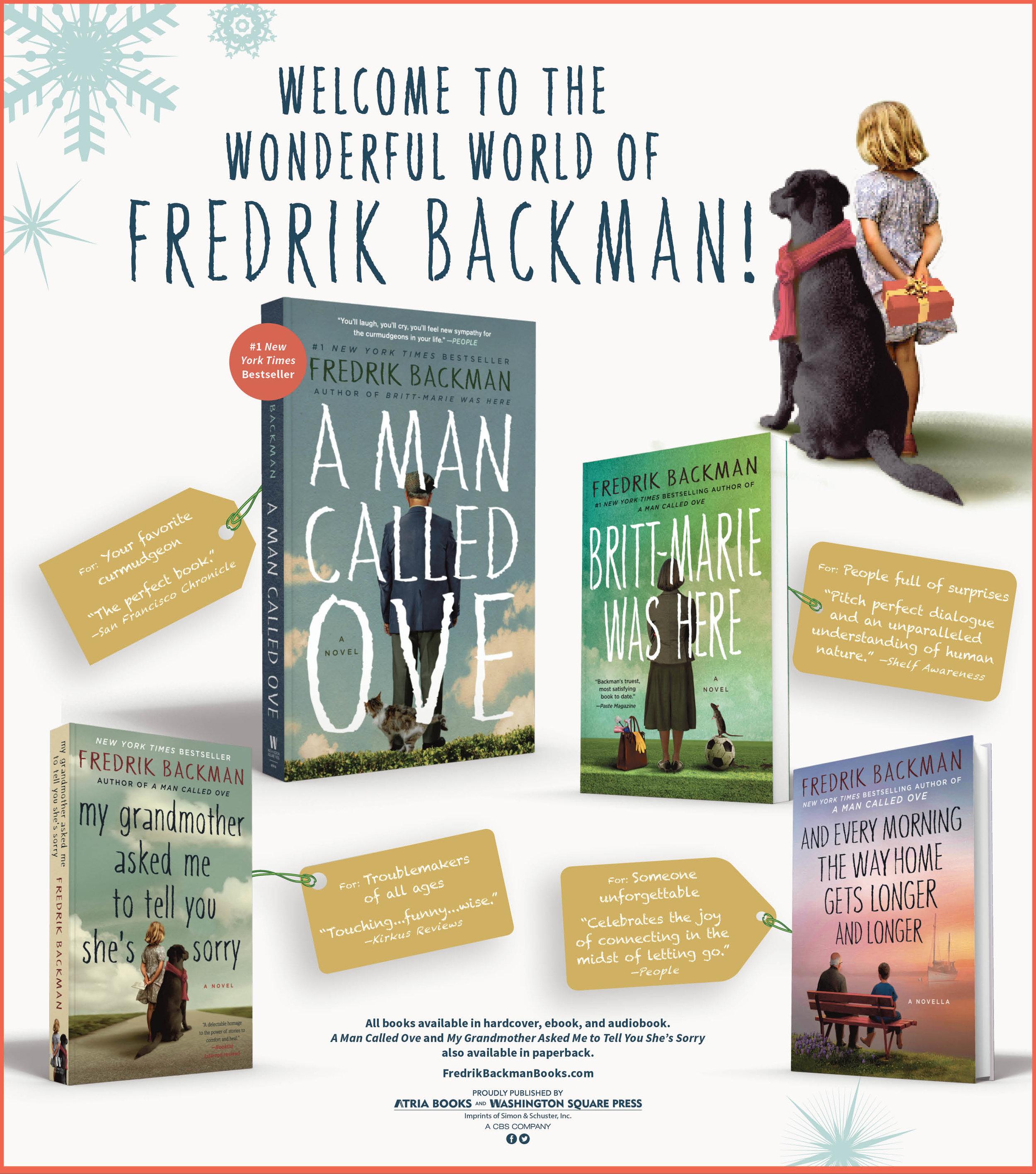 Fredrik Backman holiday advertisement, the New York Times