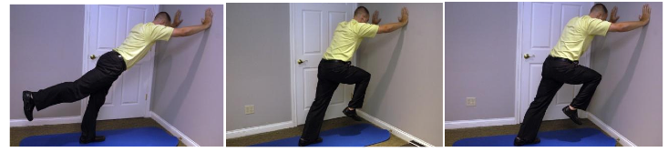 Stand against a wall. Bring Knee up to 12O'clock. Extend leg back using your buttmusclesand not your back.20reps