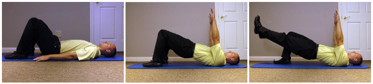 Starton back, feet andknees shoulder width apart. Use butt to bring body up. Advanced: raise 1 leg. Hold 2 seconds,20reps