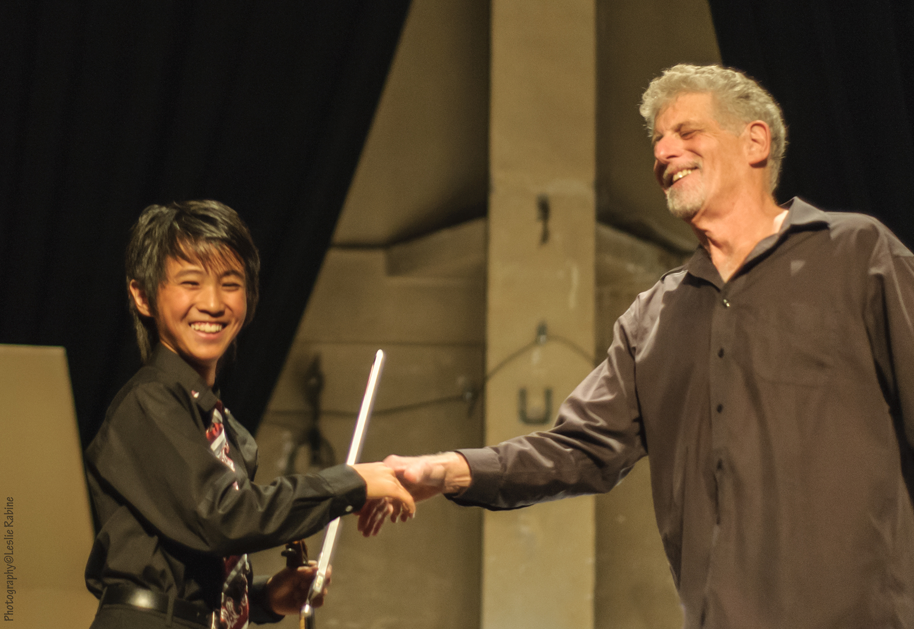 Violinist Kevin Zhu with Music Director Stephen Paulson