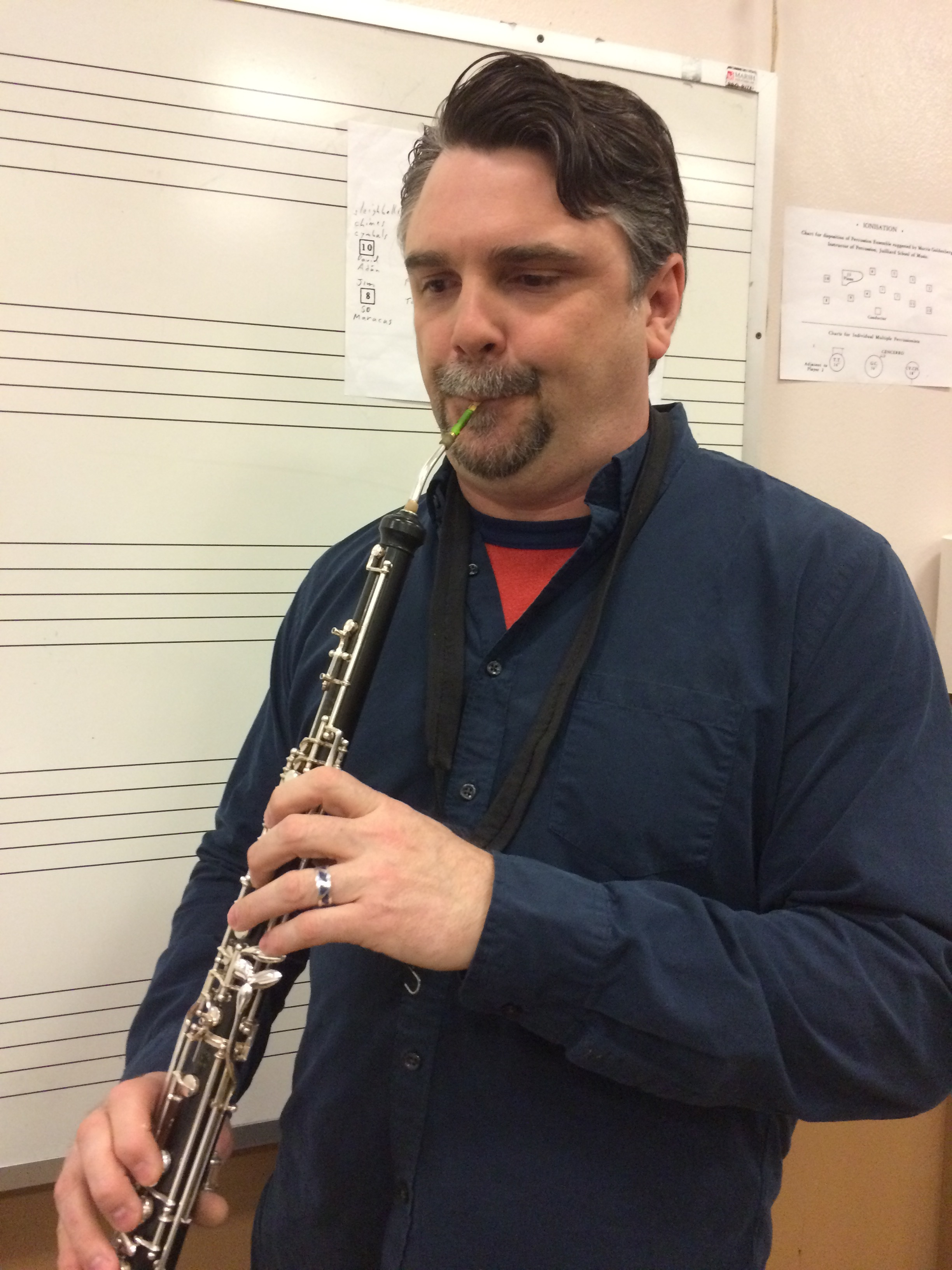 English horn soloist Russ deLuna during rehearsal