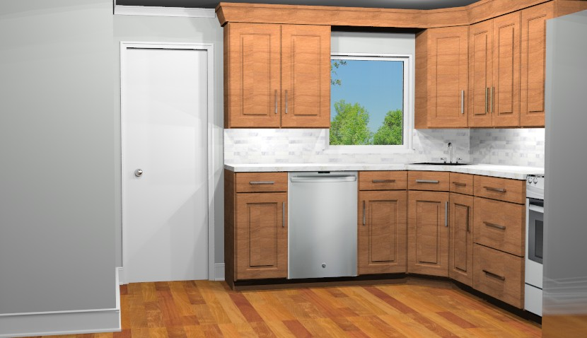 3D Computer Rendering of new kitchen space illustrating carmel colored cabinetry.