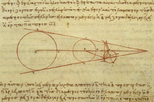 Aristarchus's 3rd-century BC calculations on the relative sizes of (from left) the Sun, Earth and Moon, from a 10th-century AD Greek copy
