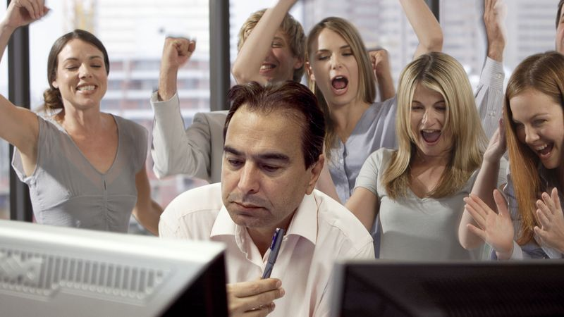 """"""" Office Cheering On Employee Going For 32-Minute Nonstop Work Streak """" ( The Onion, 9/ 25/12)"""