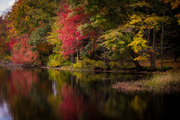 Lake reflections in Stafford Springs, Connecticut in autumn