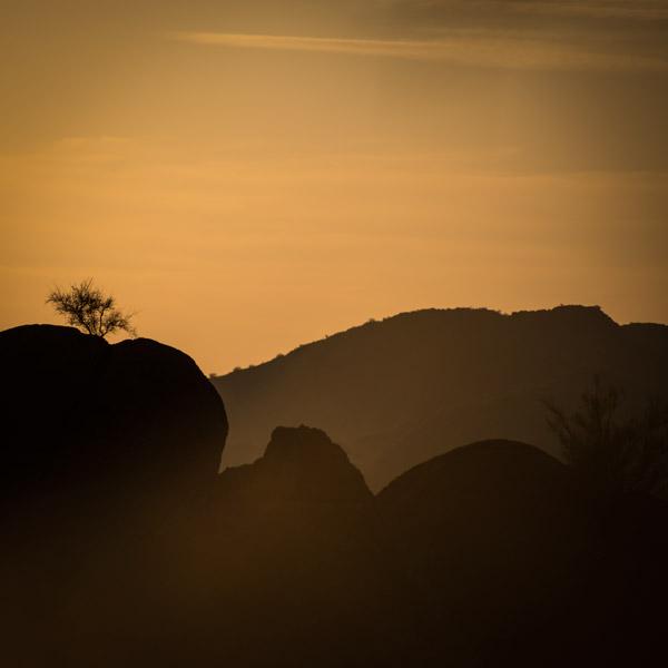 Phoenix foothills at sunset