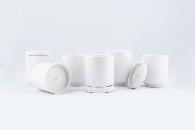 6oz, matte white porcelain jars with lid/base