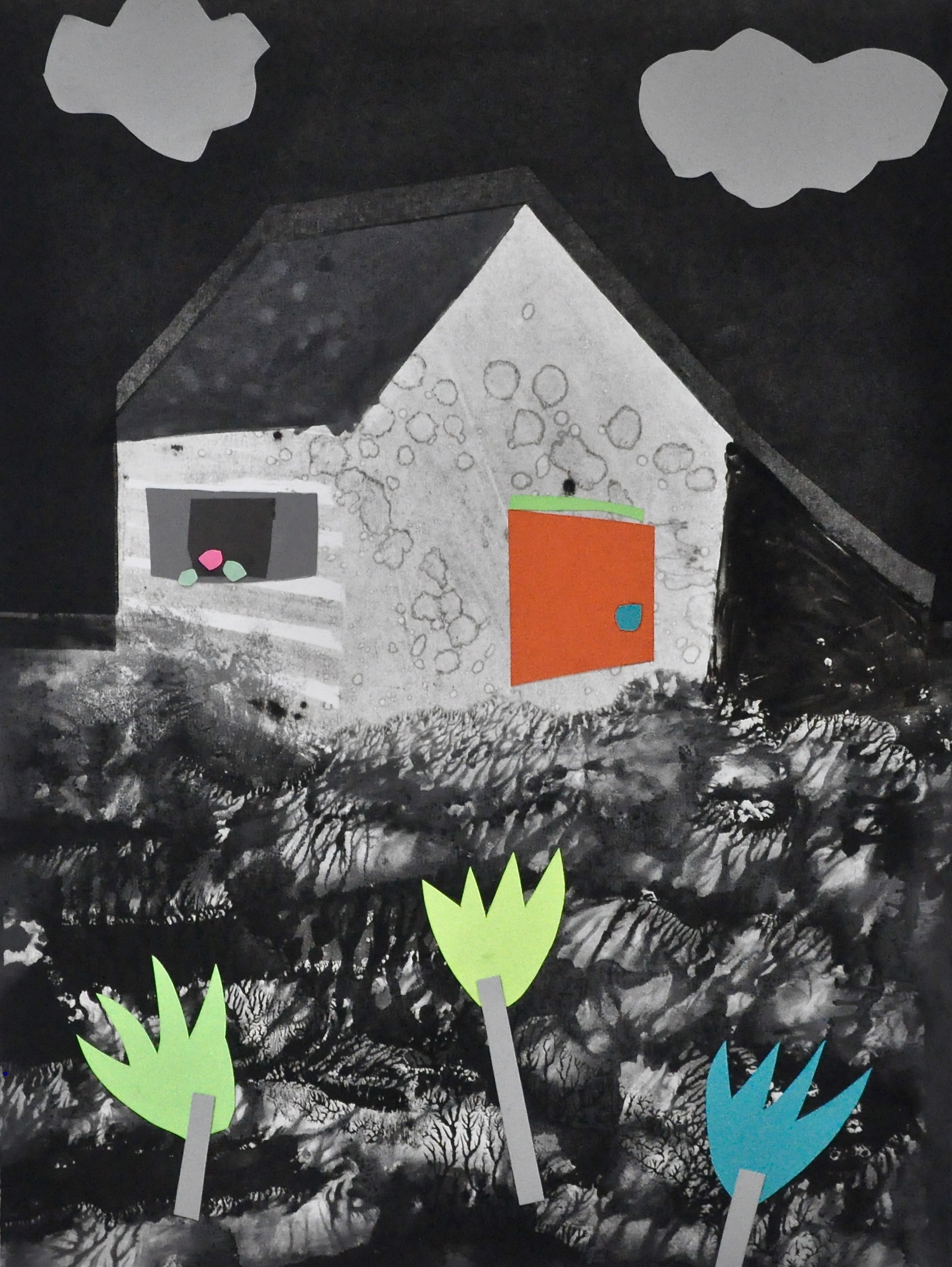 "Shelter Series #13  22x30"", monotype w collage"
