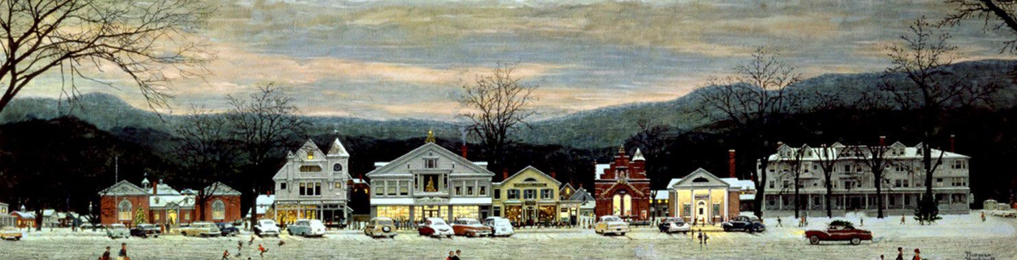 Stockbridge Main Street   at Christmas  by Norman Rockwell