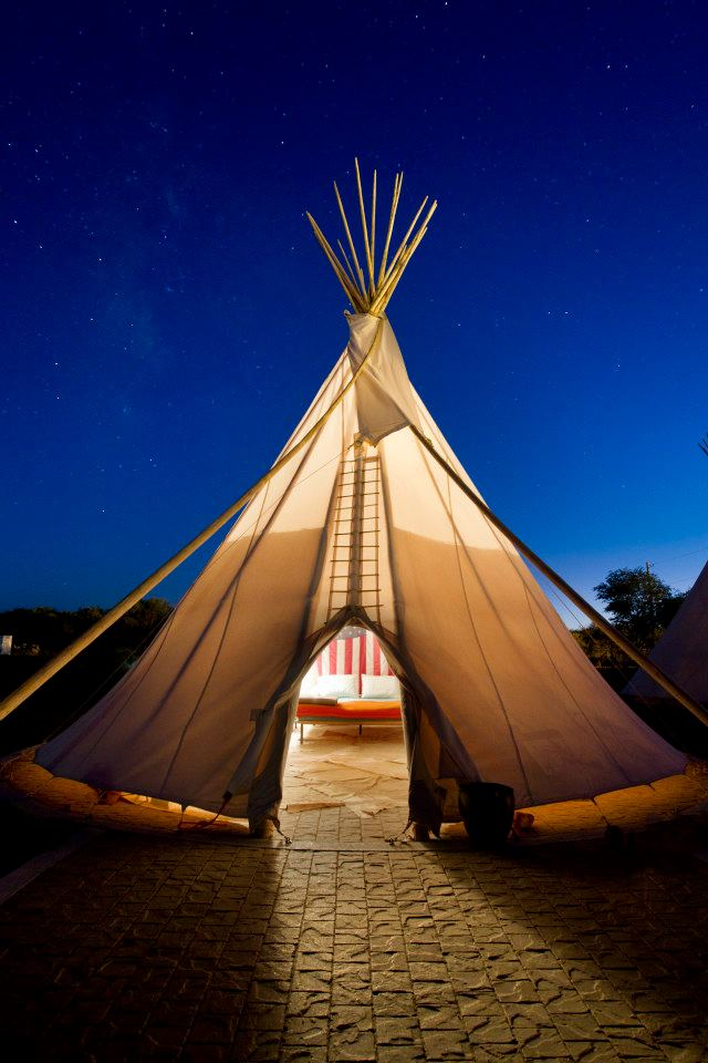 A tepee at El Cosmico in Marfa, Texas